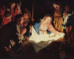 """Adoration of the Shepherds"" by Gerard van Honthorst, 1622 from wikipedia"