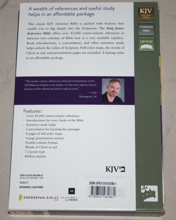 Zondervan King James Reference Bible Center-Column with Thumb In 002