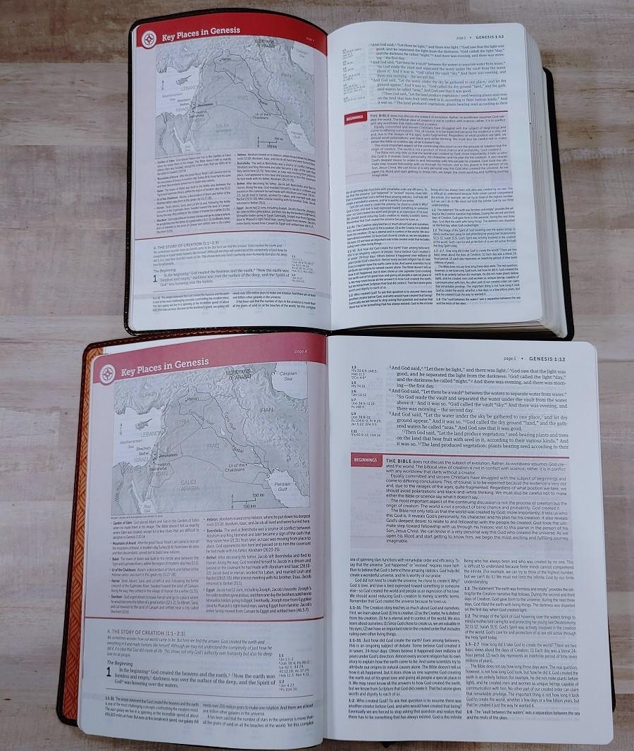 Personal & Regular Size NIV Life Application Study Bible Comparison Genesis