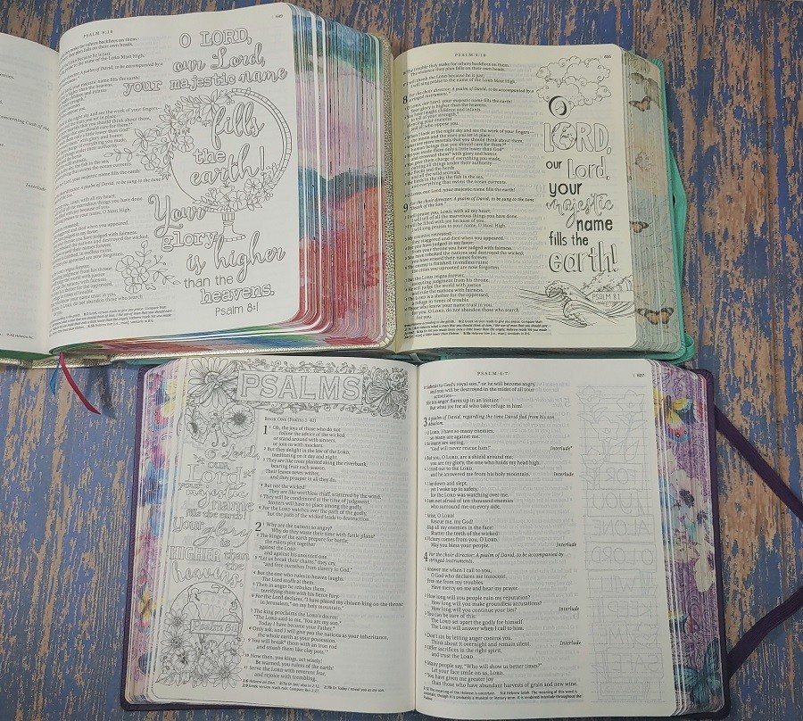 All 3 NLT Inspire Bibles - Psalms 8:1
