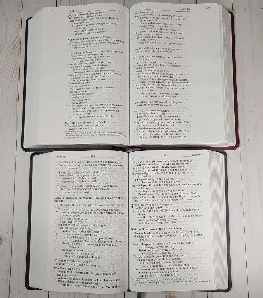 Comparison of God's Word Deluxe Bibles Layout