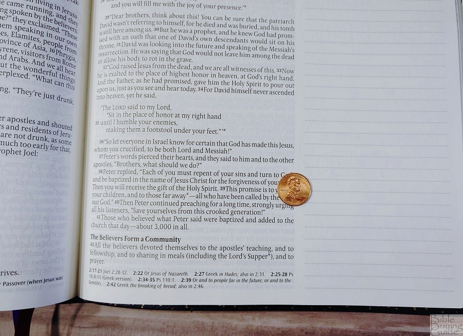 Giant Print Inspire Prayer Bible Font Size